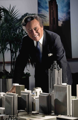 Portman with model of Peachtree Center, Atlanta